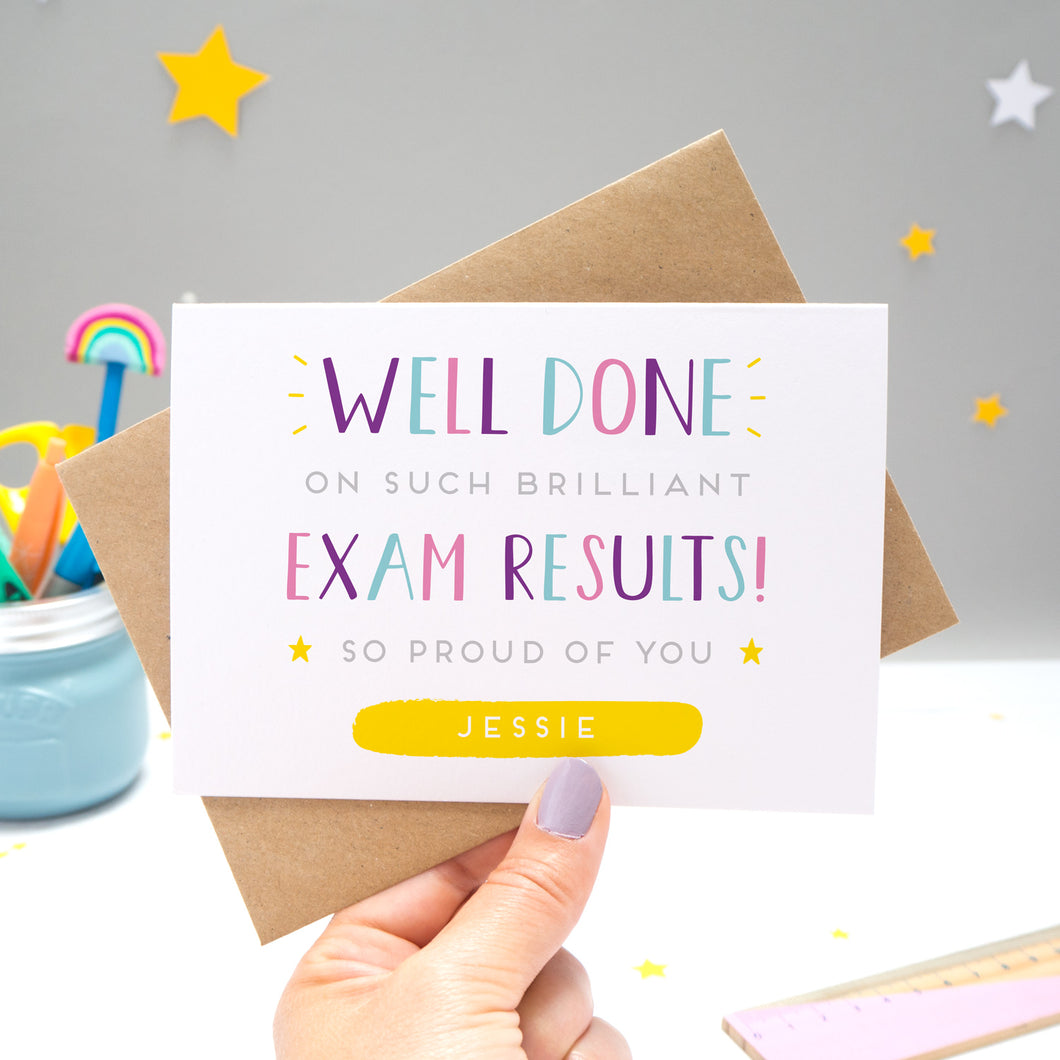 'Well done on such brilliant Exam Results! So proud of you [insert name]. A congratulations card featuring my hand drawn type in varying shades of pink, purple and blue, with a bright yellow personalised box for the recipient name!