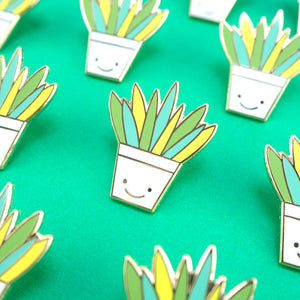 Aloe Vera Hard Enamel Pin in a happy plant pot