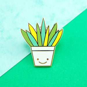Single Aloe Vera Hard Enamel Pin in a happy plant pot
