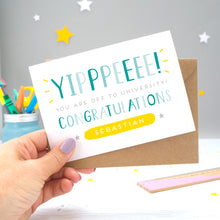 'Yipppeeee! You are off to university, congratulations! A personalised university exams congratulation card with alternative shades of blue over a hand lettered font, small grey stars and a yellow name box.