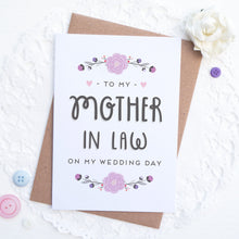 Load image into Gallery viewer, To my mother in law on my wedding day card in purple