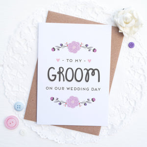 To my groom on our wedding day card in purple