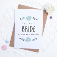 Load image into Gallery viewer, To my bride on our wedding day card in blue