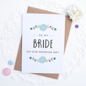 To my bride on our wedding day card in blue