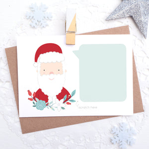 Personalised christmas message scratch and reveal card featuring father christmas