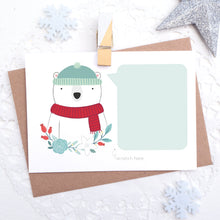 Load image into Gallery viewer, Personalised polar bear christmas message scratch and reveal card with space for you to write