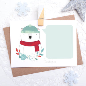 Personalised polar bear christmas message scratch and reveal card with space for you to write