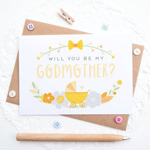 Will you be my Godmother card in yellow and orange