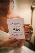Load image into Gallery viewer, Customer photo of the 'To my bride on our wedding day' card in purple