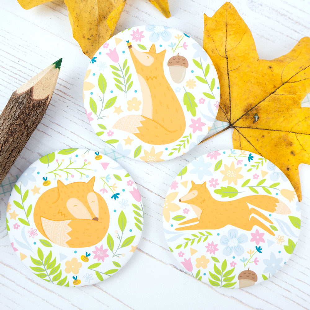 All three of my floral fox pocket mirrors.