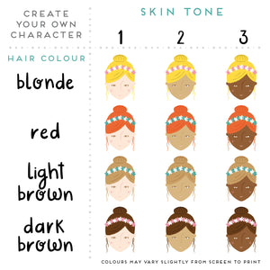 The choices of hair colour and skin tones