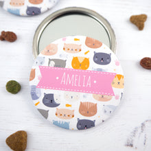 Personalised Cat pocket mirror for the crazy cat lady in pink