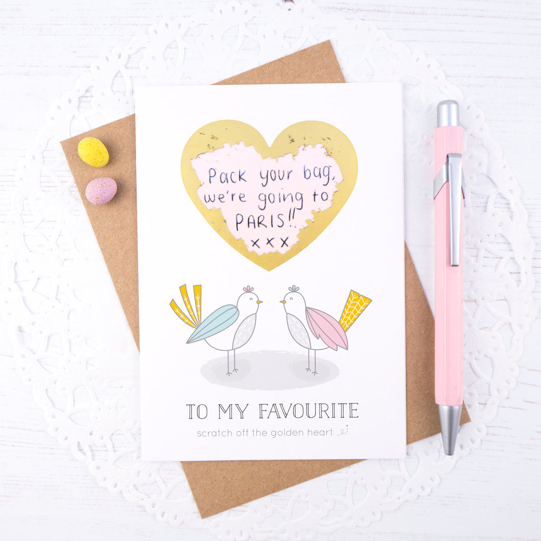 To my favourite scratch card - a love birds card for hiding a secret message to your favourite person. Ideal for valentines or anniversaries.