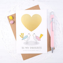 Load image into Gallery viewer, Love birds scratch card with a bright golden heart.