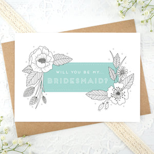 A floral outline, will you be my bridesmaid card in blue