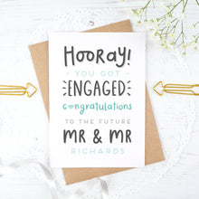 Load image into Gallery viewer, Hooray you got engaged! - Personalised Mr & Mr engagement card in blue