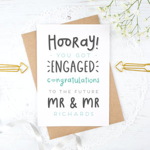 Hooray you got engaged! - Personalised Mr & Mr engagement card in blue