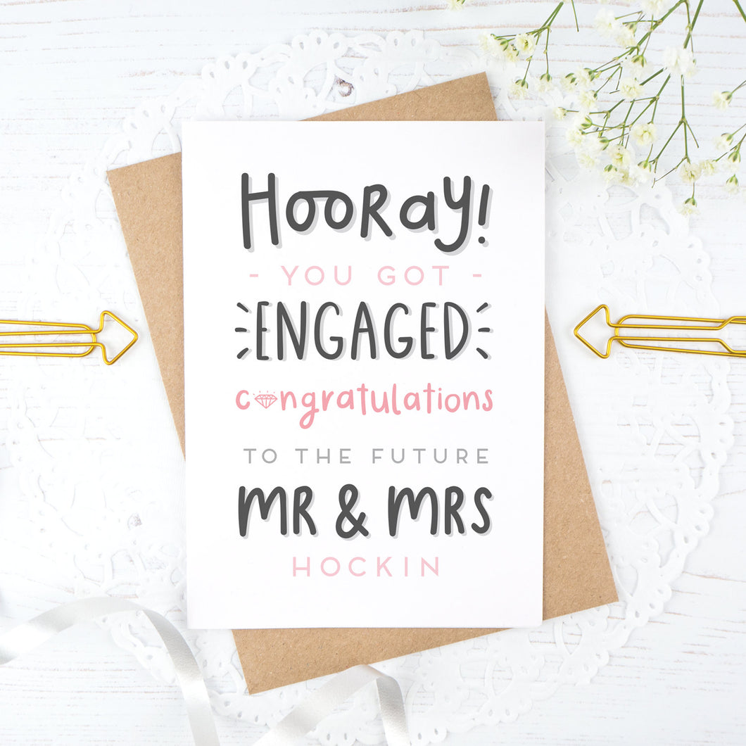 Hooray you got engaged! - Personalised Mr & Mrs engagement card in pink