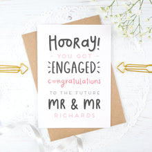 Load image into Gallery viewer, Hooray you got engaged! - Personalised Mr & Mr engagement card in pink