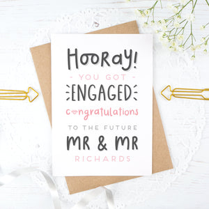 Hooray you got engaged! - Personalised Mr & Mr engagement card in pink