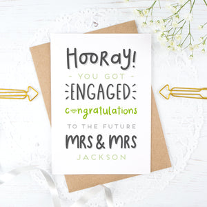 Hooray you got engaged! - Personalised Mrs & Mrs engagement card in green
