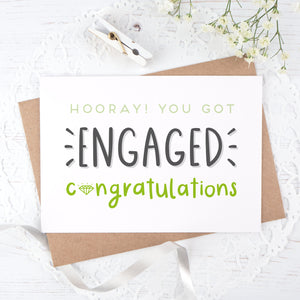 Engagement congratulations card in green