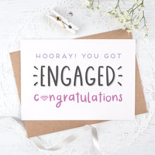 Load image into Gallery viewer, Engagement congratulations card in purple