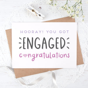 Engagement congratulations card in purple