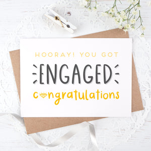 Engagement congratulations card in yellow