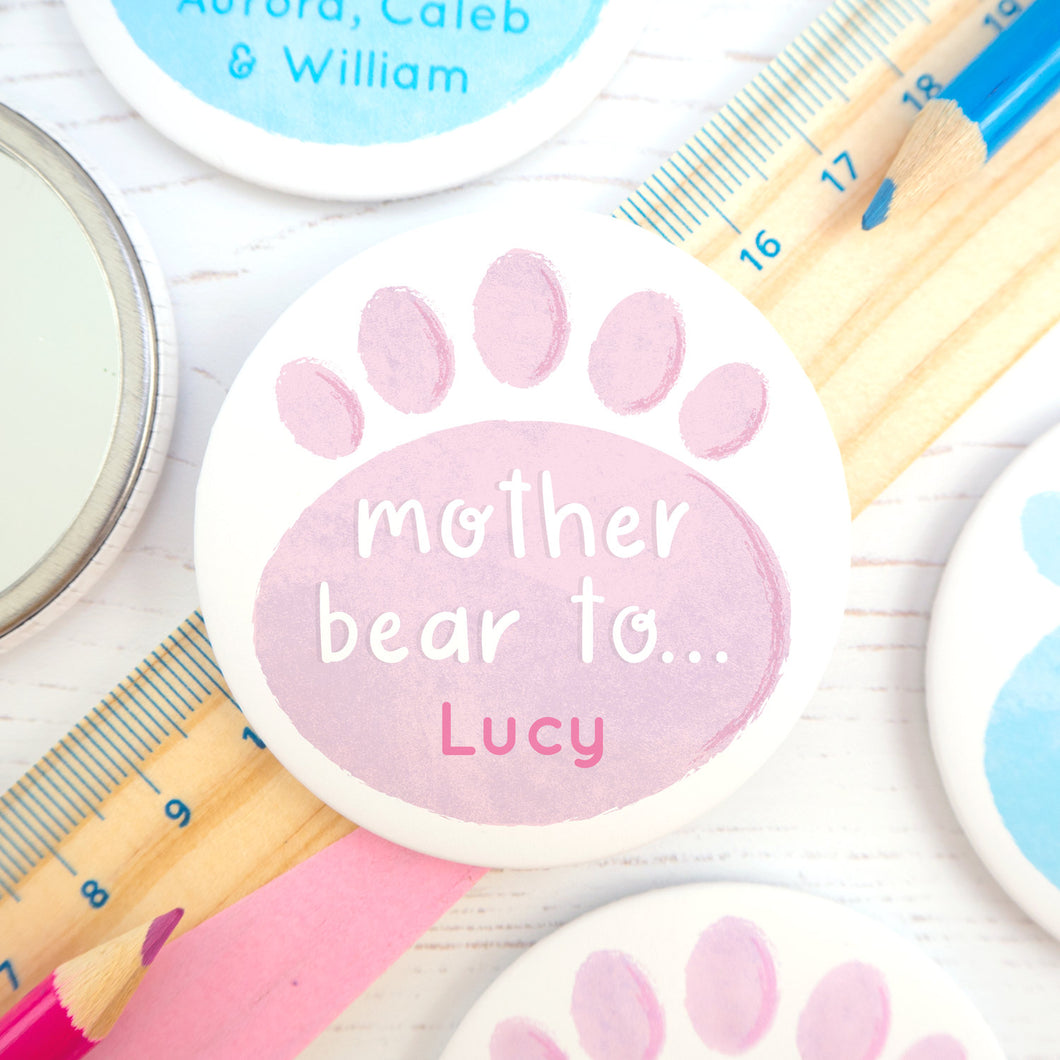 Personalised Mother Bear pocket mirror in pink & purple