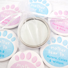 Personalised Mother Bear pocket mirror in a white organza bag.
