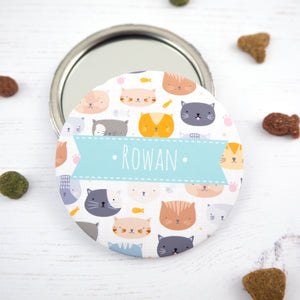 Personalised Cat pocket mirror for the crazy cat lady in blue