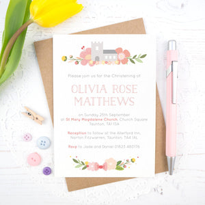 Personalised Church Christening invitations in pink
