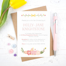 Load image into Gallery viewer, Personalised Christening invitation in pink
