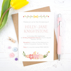 Personalised Christening invitation in pink