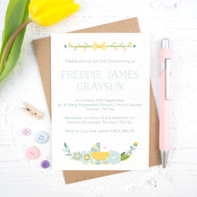 Load image into Gallery viewer, Personalised Christening invitation in blue