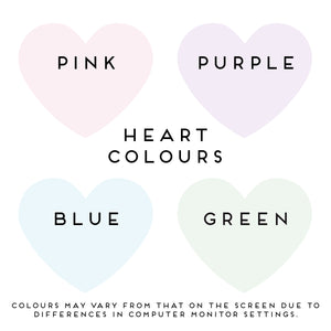 Colour options for the heart of the personalised wedding scratch card