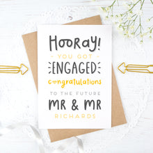 Load image into Gallery viewer, Hooray you got engaged! - Personalised Mr & Mr engagement card in yellow