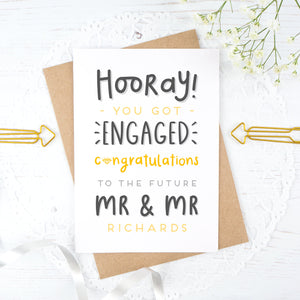 Hooray you got engaged! - Personalised Mr & Mr engagement card in yellow