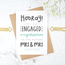 Load image into Gallery viewer, Hooray you got engaged! - Personalised Mrs & Mrs engagement card in blue
