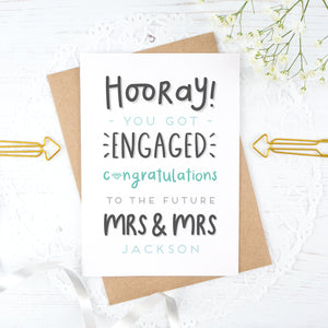 Hooray you got engaged! - Personalised Mrs & Mrs engagement card in blue