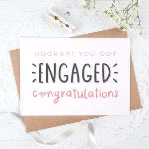 Engagement congratulations card in pink