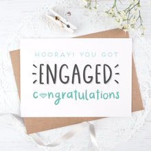 Load image into Gallery viewer, Engagement congratulations card in blue