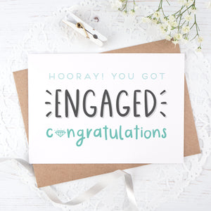 Engagement congratulations card in blue