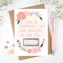 Load image into Gallery viewer, Grey and Pink, will you be my bridesmaid scratch card