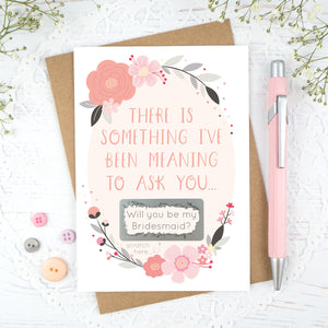 Grey and Pink, will you be my bridesmaid scratch card