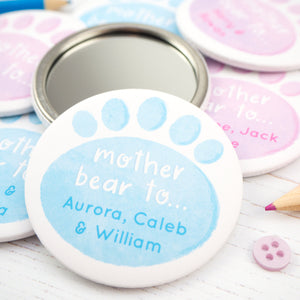 Personalised Mother Bear pocket mirror in blue and with an additional mirror showing the reverse.