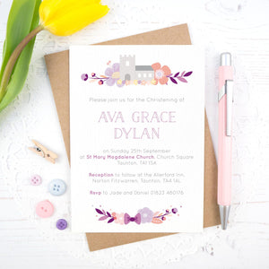 Personalised Church Christening invitations in purple