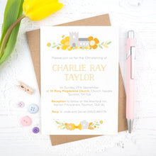Personalised Church Christening invitations in yellow