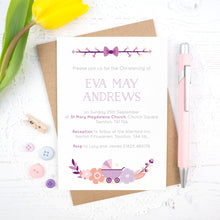 Load image into Gallery viewer, Personalised Christening invitation in purple